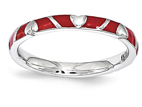 Red Enamel Rhodium Over Sterling Silver Heart Band Ring