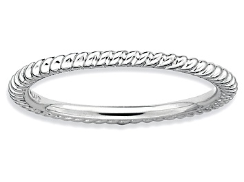 Picture of Rhodium Over Sterling Silver Twisted Band Ring