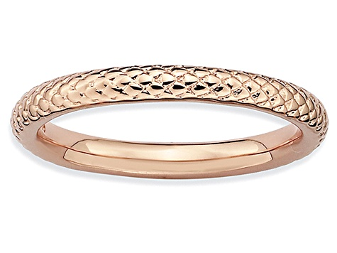 14k Rose Gold Over Sterling Silver Cable Band Ring