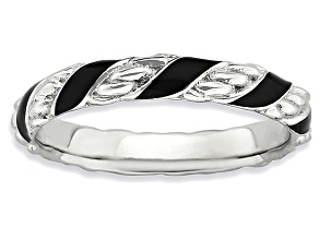 Black Enamel Rhodium Over Sterling Silver Twisted Band Ring