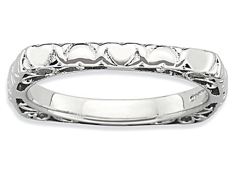 Rhodium Over Sterling Silver Textured Square Band Ring