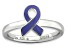 Purple Enamel Rhodium Over Sterling Silver Awareness Ribbon Band Ring