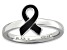 Black Enamel Rhodium Over Sterling Silver Awareness Ribbon Band Ring