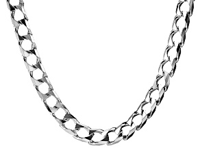Rhodium Over Sterling Silver Curb Link Chain Necklace 18 inch