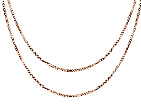 18k Rose Gold Over Sterling Silver Box Link Chain Set Of 2