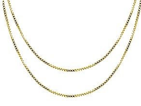 18k Yellow Gold Over Sterling Silver Box Link Chain Set Of 2