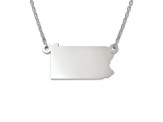 Sterling Silver Pennsylvania Silhouette Center Station 18 inch Necklace