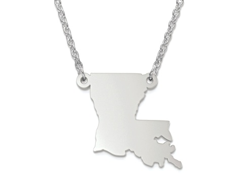 Sterling Silver Louisiana Silhouette Center Station 18 inch Necklace