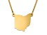 14k Yellow Gold Over Sterling Silver Ohio Silhouette Center Station 18 inch Necklace