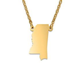 14k Gold Over Silver Mississippi Silhouette Center Station 18 inch Necklace