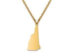 14k Yellow Gold Over Sterling Silver New Hampshire Silhouette Center Station 18 inch Necklace
