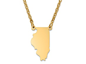 14k Yellow Gold Over Sterling Silver Illinois Silhouette Center Station 18 inch Necklace
