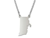 Sterling Silver Rhode Island Silhouette Center Station 18 inch Necklace