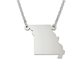 Sterling Silver Missouri Silhouette Center Station 18 inch Necklace