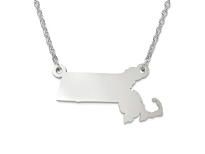 Sterling Silver Massachusetts Silhouette Center Station 18 inch Necklace