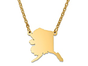 14k Yellow Gold Over Sterling Silver Alaska Silhouette Center Station 18 inch Necklace