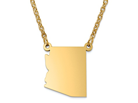 14k Yellow Gold Over Sterling Silver Arizona Silhouette Center Station 18 inch Necklace
