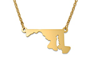 14k Gold Over Silver Maryland Silhouette Center Station 18 inch Necklace
