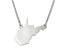 Sterling Silver West Virginia Silhouette Center Station 18 inch Necklace