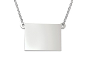 Sterling Silver Wyoming Silhouette Center Station 18 inch Necklace