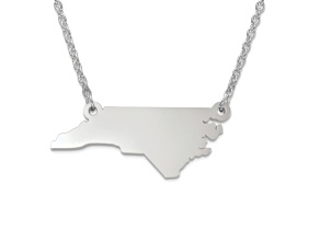 Sterling Silver North Carolina Silhouette Center Station 18 inch Necklace