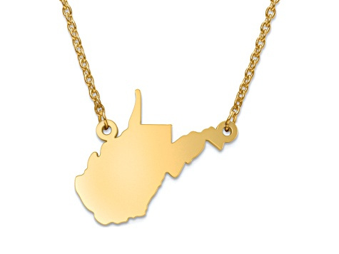 14k Yellow Gold Over Sterling Silver West Virginia Silhouette Center Station 18 inch Necklace