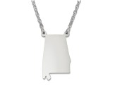 Sterling Silver Alabama Silhouette Center Station 18 inch Necklace