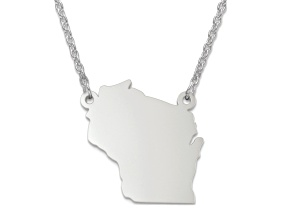 Sterling Silver Wisconsin Silhouette Center Station 18 inch Necklace