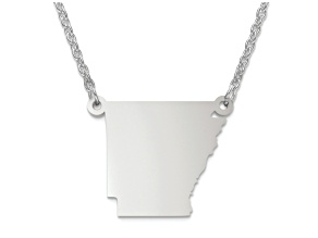 Sterling Silver Arkansas Silhouette Center Station 18 inch Necklace