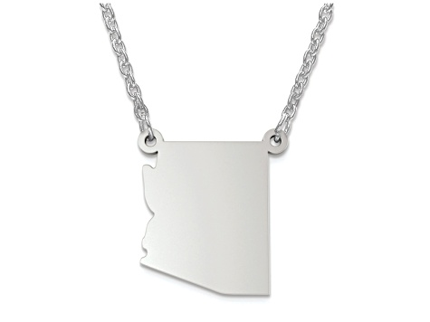 Sterling Silver Arizona Silhouette Center Station 18 inch Necklace