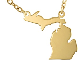 14k Yellow Gold Over Sterling Silver Michigan Silhouette Center Station 18 inch Necklace