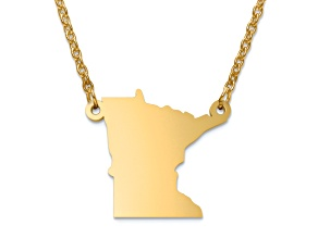 14k Yellow Gold Over Sterling Silver Minnesota Silhouette Center Station 18 inch Necklace