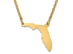 14k Gold Over Silver Florida Silhouette Center Station 18 inch Necklace
