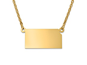 14k Yellow Gold Over Sterling Silver Kansas Silhouette Center Station 18 inch Necklace