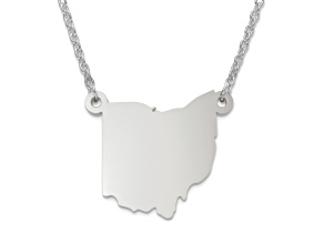 Sterling Silver Ohio Silhouette Center Station 18 inch Necklace