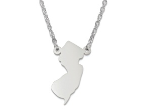 Sterling Silver New Jersey Silhouette Center Station 18 inch Necklace
