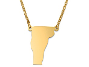14k Yellow Gold Over Sterling Silver Vermont Silhouette Center Station 18 inch Necklace