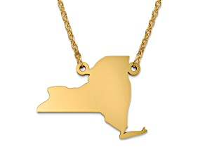 14k Yellow Gold Over Sterling Silver New York Silhouette Center Station 18 inch Necklace