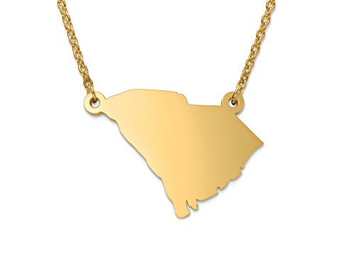 14k Yellow Gold Over Sterling Silver South Carolina Silhouette Center Station 18 inch Necklace