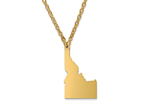14k Yellow Gold Over Sterling Silver Idaho Silhouette Center Station 18 inch Necklace