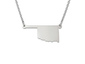 Sterling Silver Oklahoma Silhouette Center Station 18 inch Necklace