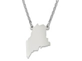 Sterling Silver Maine Silhouette Center Station 18 inch Necklace