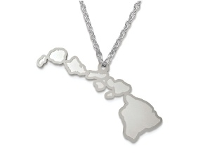 Sterling Silver Hawaii Silhouette Center Station 18 inch Necklace