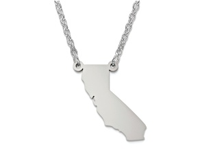 Sterling Silver California Silhouette Center Station 18 inch Necklace