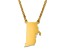 14k Yellow Gold Over Sterling Silver Rhode Island Silhouette Center Station 18 inch Necklace