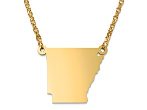 14k Yellow Gold Over Sterling Silver Arkansas Silhouette Center Station 18 inch Necklace