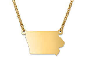 14k Gold Over Silver Iowa Silhouette Center Station 18 inch Necklace