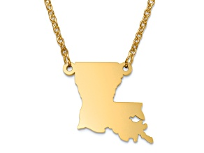14k Yellow Gold Over Sterling Silver Louisiana Silhouette Center Station 18 inch Necklace