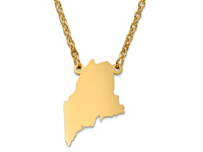 14k Yellow Gold Over Sterling Silver Maine Silhouette Center Station 18 inch Necklace