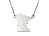 Sterling Silver Minnesota Silhouette Center Station 18 inch Necklace